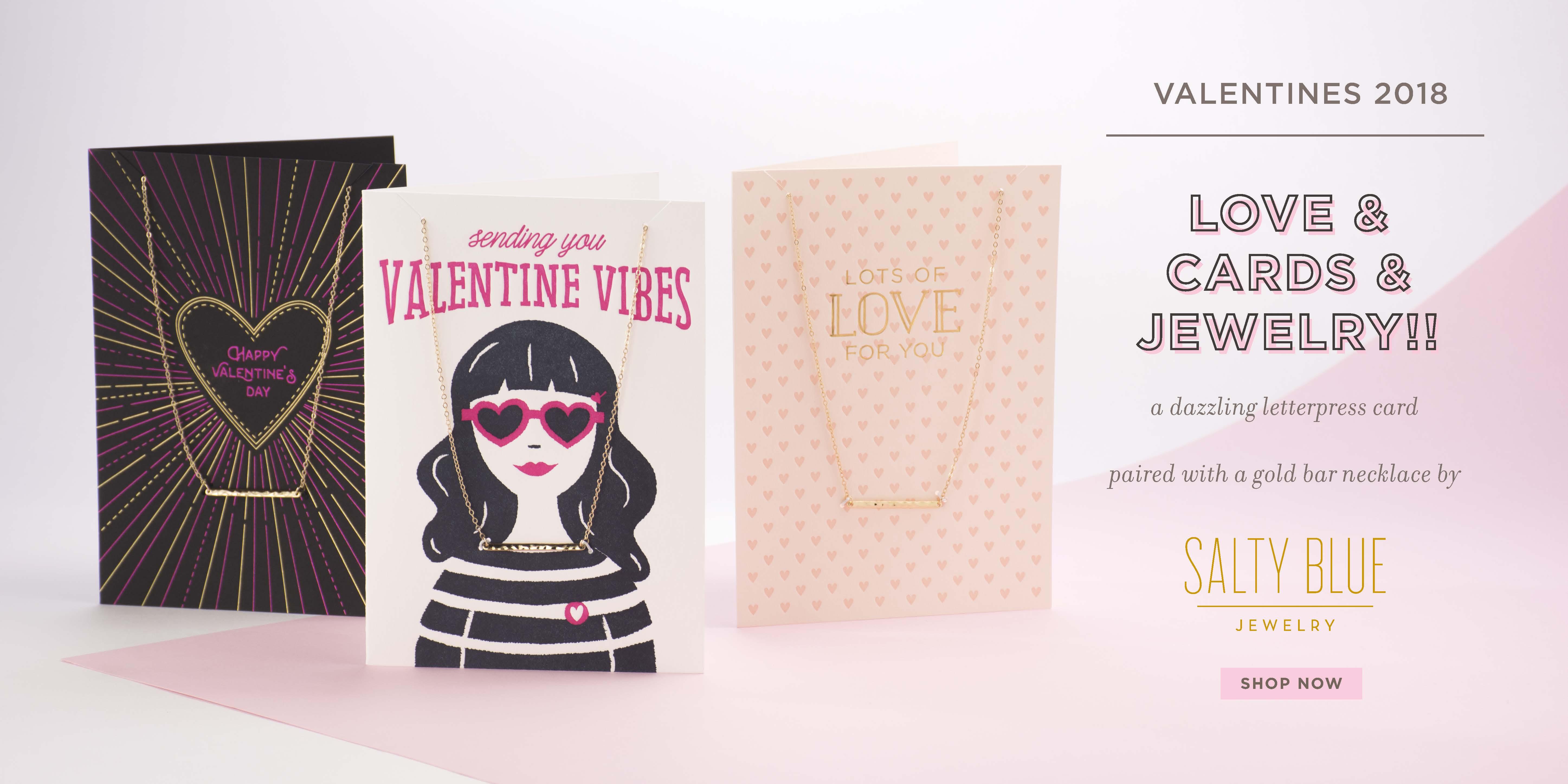 Valentine's letterpress card w/necklace