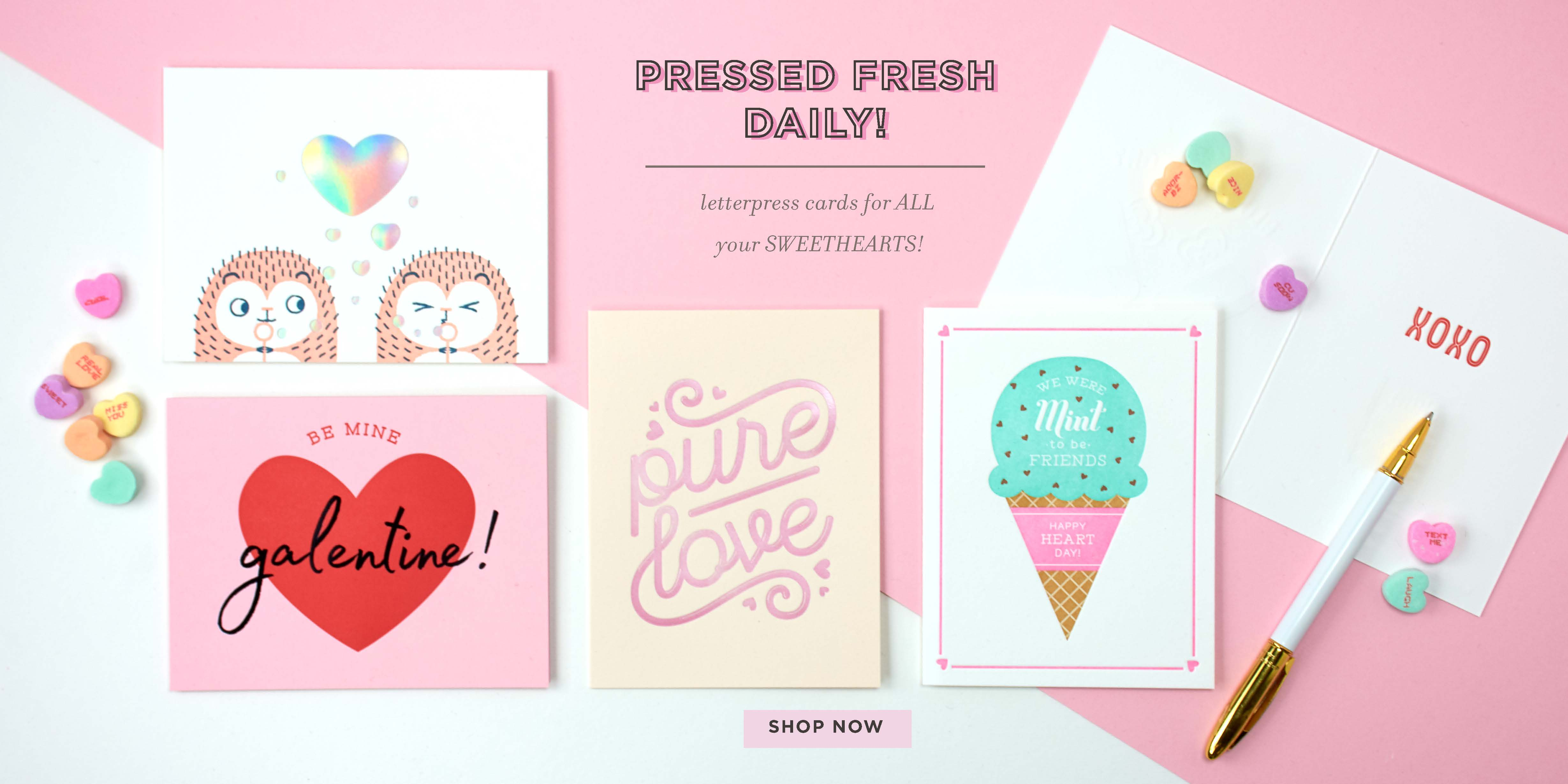valentine's letterpress cards