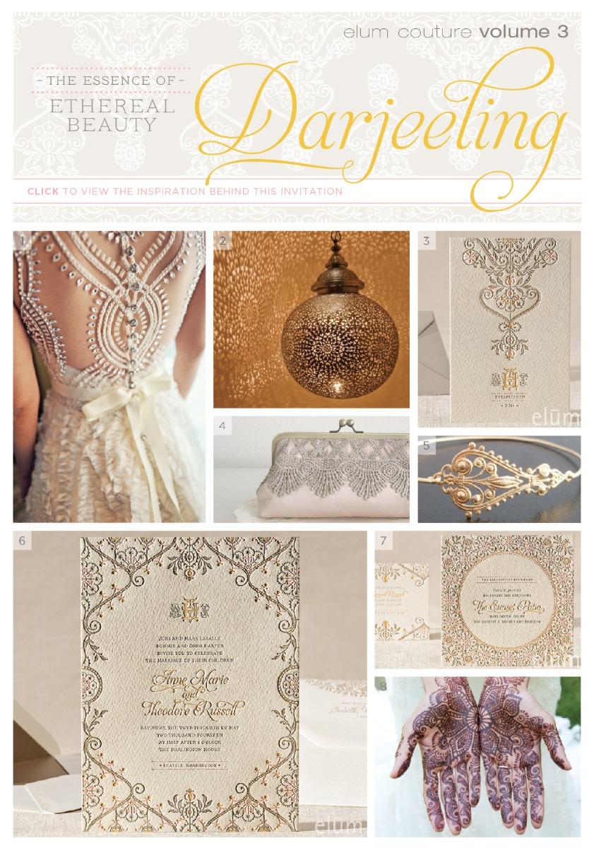 Darjeeling Letterpress Wedding Invitation by Elum Designs