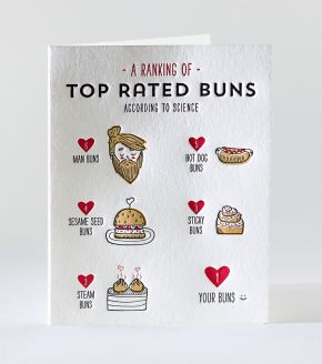 Elum Designs Top Buns Letterpress Greeting Card