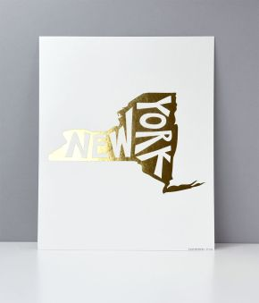 New York Foil Letterpress Art Print