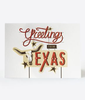 Elum Designs Iconic Texas Boot Letterpress Greeting Card